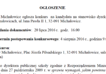 Ogłoszenie – Konkurs na dyrektora ZS w Michałowicach