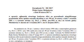 Zarządzenie Nr 302/2017 Wójta Gminy Michałowice z dnia 20 marca 2017 r.