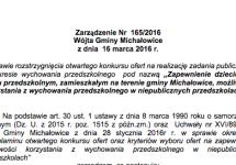 Zarządzenie Nr165/2016 Wójta Gminy Michałowice zdnia 16 marca 2016 r.