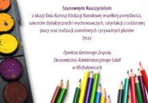 Życzenia zokazji Dnia Komisji Edukacji Narodowej