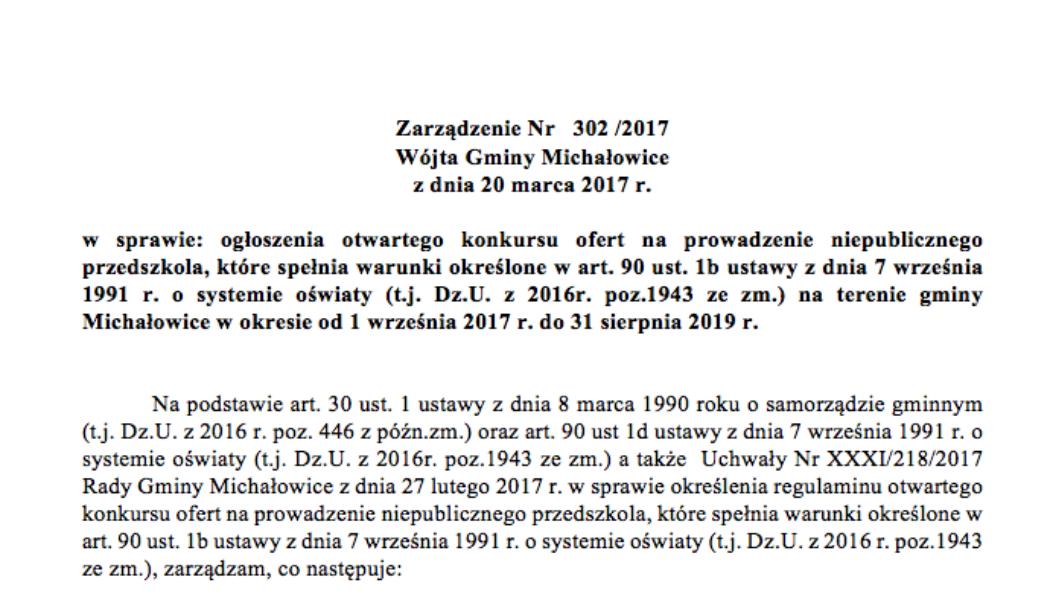 Zarządzenie Nr302/2017 Wójta Gminy Michałowice zdnia 20 marca 2017 r.