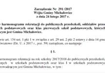 Zarządzenie Nr 291 /2017 Wójta Gminy Michałowice z dnia 24 lutego 2017 r.