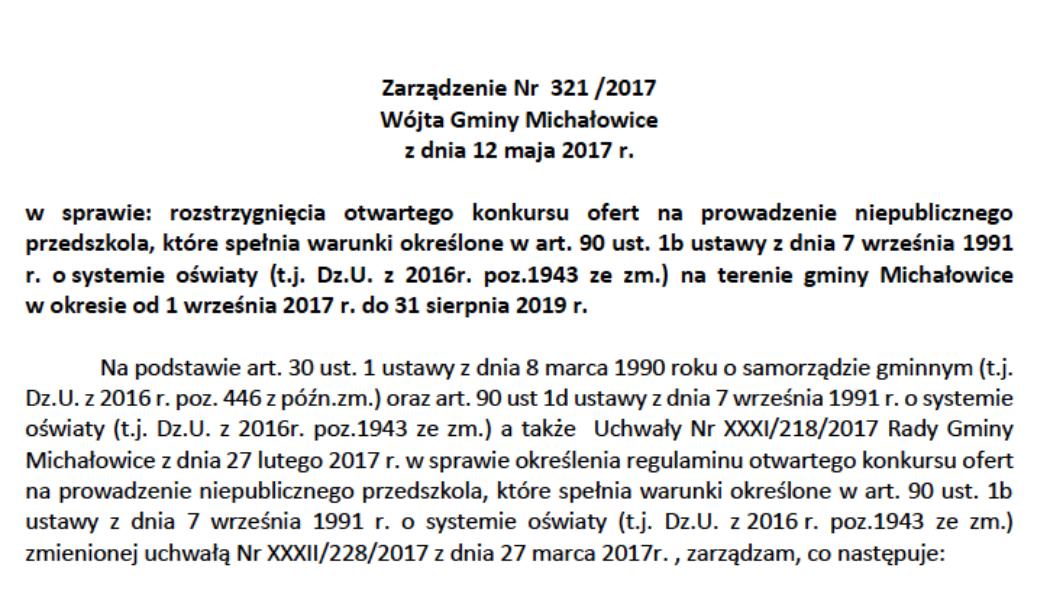 Zarządzenie Nr321/2017 Wójta Gminy Michałowice zdnia 12 maja 2017 r.