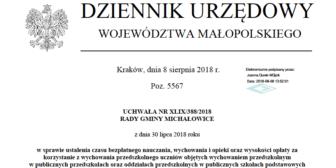 Oplaty za wychowanie przedszkolne w roku szkolnym 2018/2019