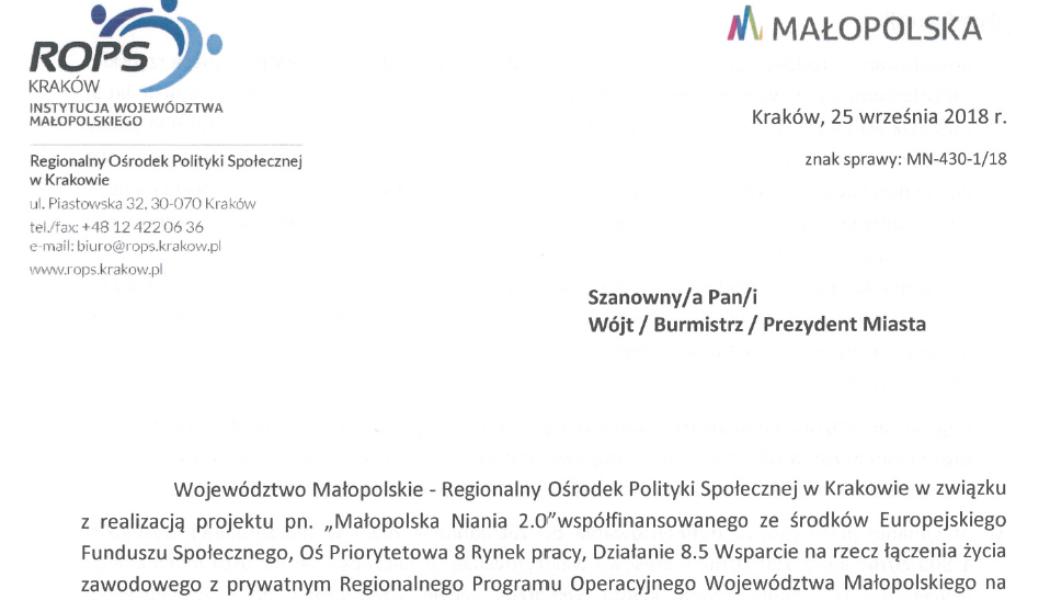 """Nabór do Projektu pn. """"Małopolska Niania 2.0"""" – od 25.09.2018 r. do 8.10.2018 r."""
