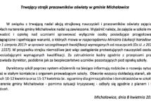 Trwający strajk pracowników oświaty wgminie Michałowice