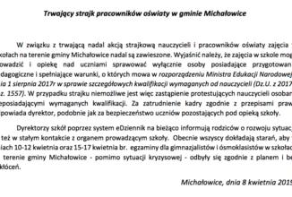 Trwający strajk pracowników oświaty w gminie Michałowice