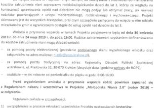 """II NABÓR DO PROJEKTU """"MAŁOPOLSKA NIANIA 2.0"""" – od 30.04.2019 r. do 24.05.2019 r."""