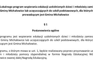 OGŁOSZENIE o naborze wniosków o przyznanie Nagrody Edukacyjnej Wójta Gminy Michałowice