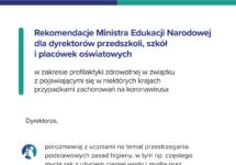 Rekomendacje Ministra Edukacji Narodowej dla dyrektorów przedszkoli, szkół iplacówek oświatowych