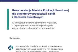 Rekomendacje Ministra Edukacji Narodowej dla dyrektorów przedszkoli, szkół i placówek oświatowych
