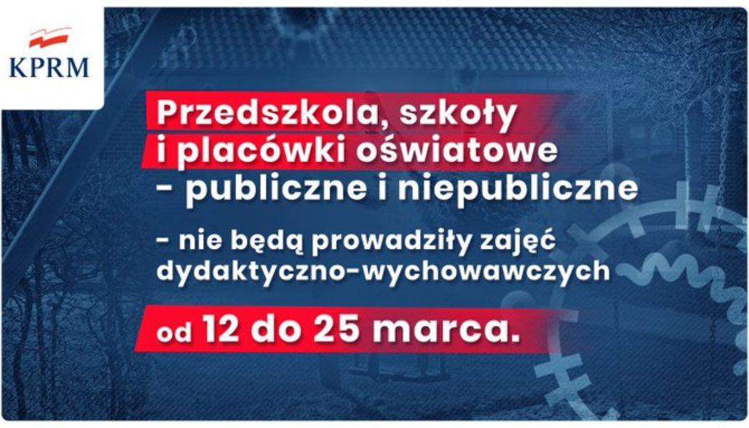 PILNE- Zawieszenie zajęć dydaktyczno-wychowawczych w przedszkolach, szkołach i placówkach oświatowych w kresie od 12 marca do 25 marca 2020r