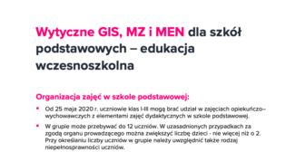 Wytyczne GIS, MZ iMEN dla szkół podstawowych – edukacja wczesnoszkolna