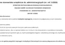 Nabór nawolne stanowisko urzędnicze ds.administracyjnych (nr.ref. 5/2020)