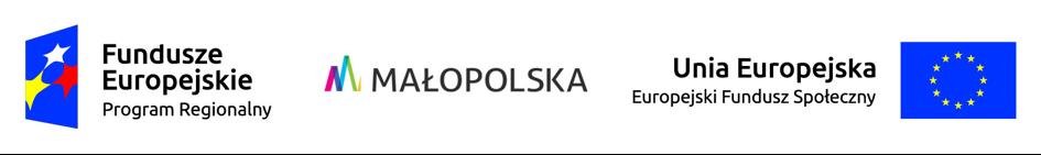 Logo Funduszy Europejskich - naniebieskim tle 3 gwiazdy: biała, żółta iczerwona, obok logo Małopolska - kolorowy inicjał litery M, obok flaga Unii Europejskiej - naniebieskim tle 12 złotych gwiazd tworzących okrąg.